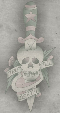 True till death with heart, skull and thistle